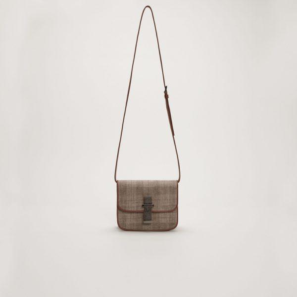 Шкіряна сумка з вставкою маніли Fabiana Filippi