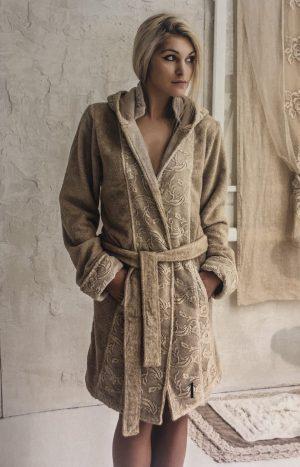 Махровий халат з мереживом Arte Pura