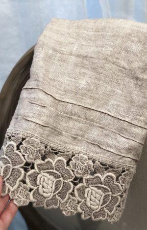 Рушник льон з мереживом RS